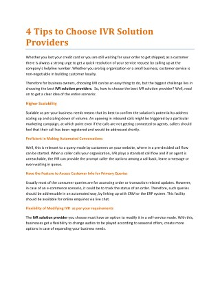 4 Tips to Choose IVR Solution Providers