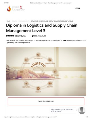 Diploma in Logistics and Supply Chain Management Level 3 - John Academy
