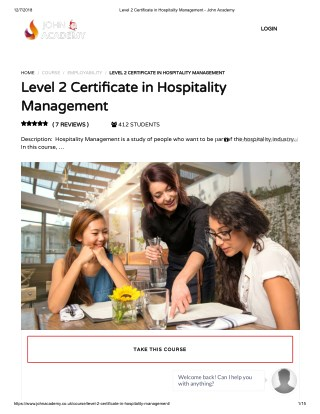 Level 2 Certificate in Hospitality Management - John Academy