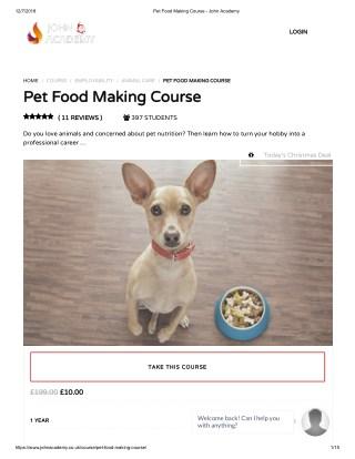 Pet Food Making Course - John Academy