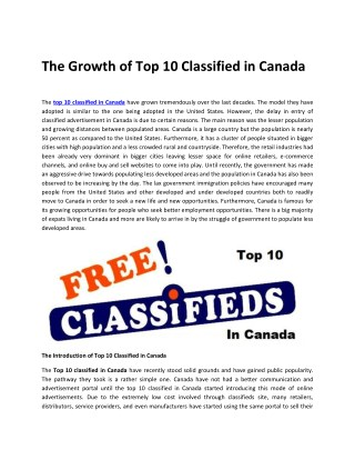 The Growth of Top 10 Classified in Canada
