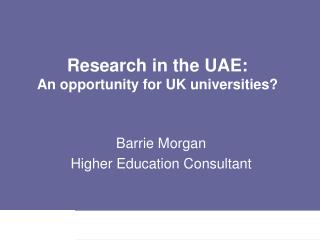 Research in the UAE: An opportunity for UK universities?