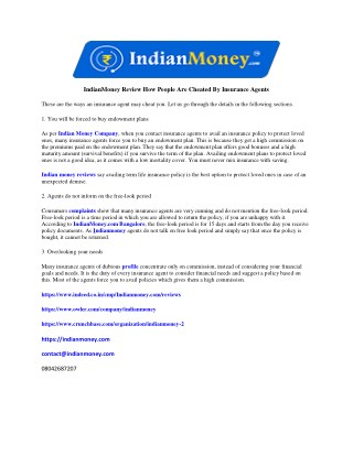 IndianMoney Review How People Are Cheated By Insurance Agents
