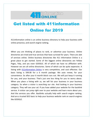 Get listed with 411information Online for 2019