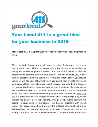 Your Local 411 is a great idea for your business in 2019
