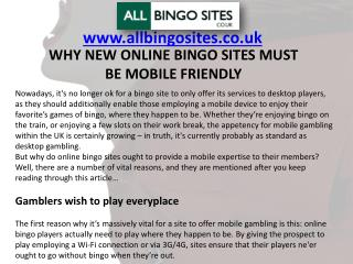 WHY NEW ONLINE BINGO SITES MUST BE MOBILE FRIENDLY