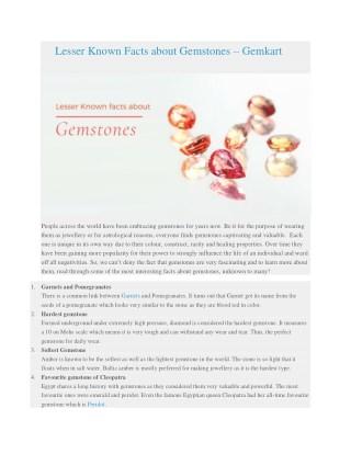 Lesser Known Facts About Gemstones - How to Buy Gemstones - Gemkart