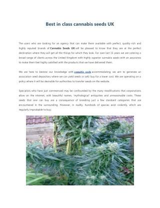 Cannabis Seeds - Britain's #1 Cannabis Seeds Bank