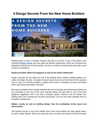 4 Design Secrets From the New Home Builders