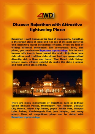 Discover Rajasthan with Attractive Sightseeing Places