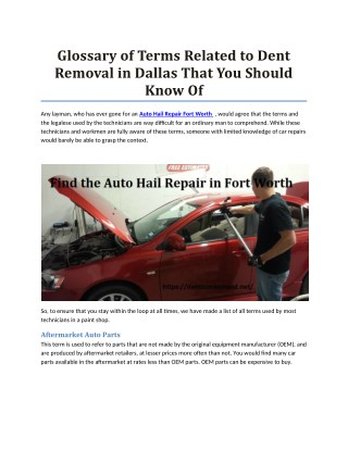 Glossary of Terms Related to Dent Removal in Dallas That You Should Know Of