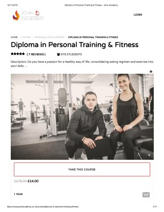Diploma in Personal Training & Fitness - John Academy