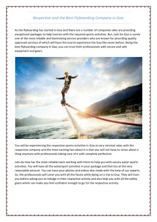 Respective and the Best Flyboarding Company in Goa
