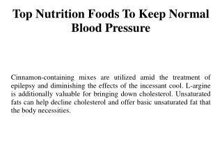 Top Nutrition Foods To Keep Normal Blood Pressure