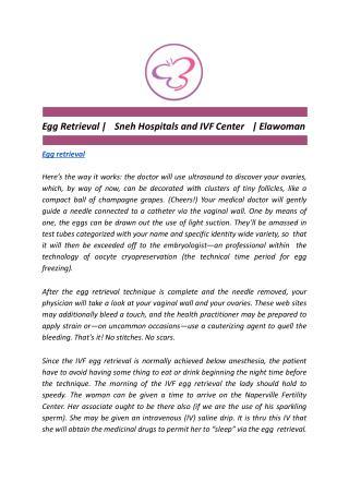 Egg Retrieval | Sneh Hospitals and IVF Center | Elawoman