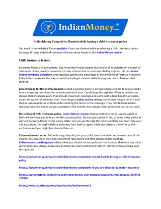 IndianMoney Complaints Cheated while buying a child insurance policy