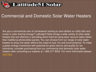 Commercial and Domestic Solar Water Heaters