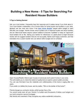 Building a New Home - 5 Tips for Searching For Resident House Builders