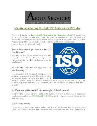 6 Steps for Selecting the Right ISO Certification Provider