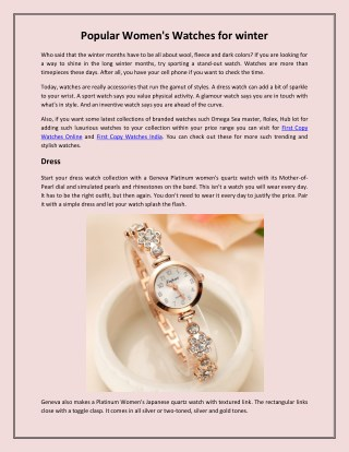 Popular Women's Watches for Winter