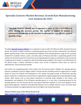 Specialty Generics Market Revenue, Growth Rate Manufacturing Cost Analysis By 2025