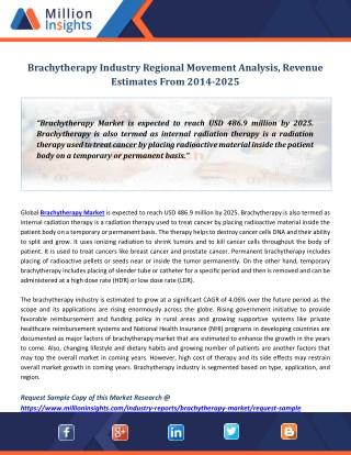 Brachytherapy Industry Regional Movement Analysis, Revenue Estimates From 2014-2025