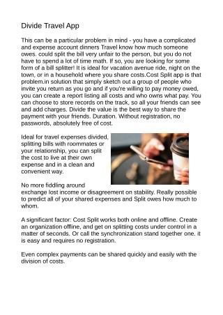 Split Travel Expenses App
