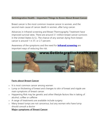 Getintegrative Health - Important Things to Know About Breast Cancer