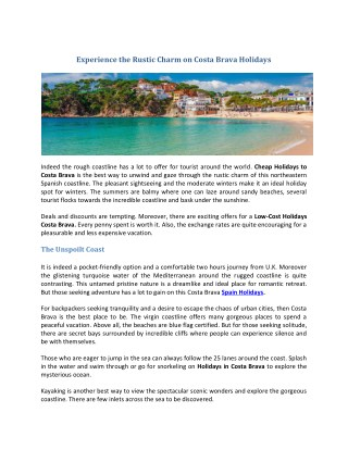 Cheap Holidays to Costa Brava 2018/2019   Costa Brava Holidays