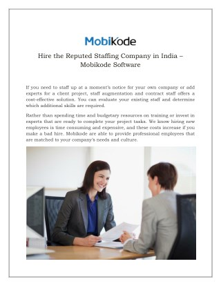 Hire the Reputed Staffing Company in India – Mobikode Software