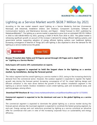 Lighting as a Service Market worth $638.7 Million by 2021