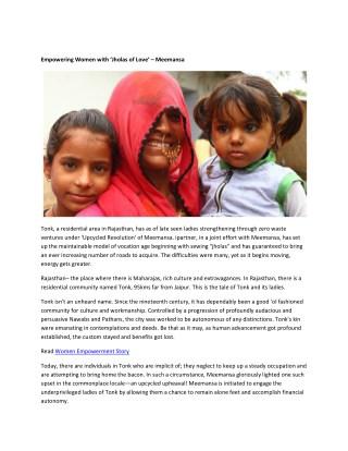 Empowering Women with 'Jholas of Love' – Meemansa
