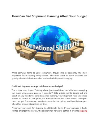 How Can Bad Shipment Planning Affect Your Budget