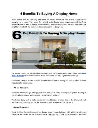 6 Big Benefits To Buying A Display Home