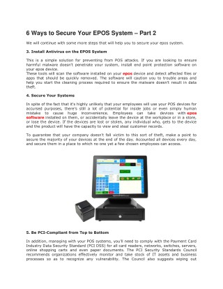 6 Ways to Secure Your EPOS System – Part 2