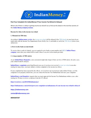 Post Your Complaint On IndianMoney If Your Income Tax Refund Is Delayed