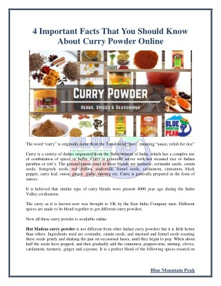4 Important Facts That You Should Know About Curry Powder Online