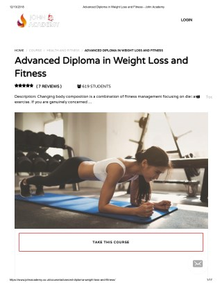 Advanced Diploma in Weight Loss and Fitness - John Academy
