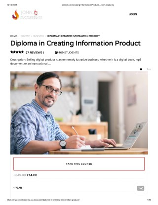 Diploma in Creating Information Product - John Academy