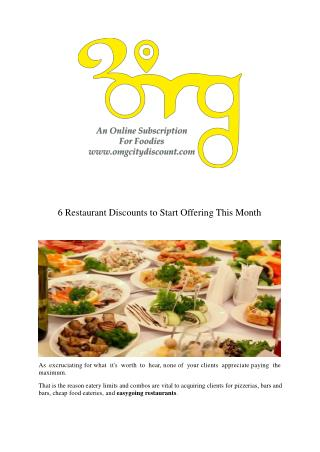 6 Restaurant Discounts to Start Offering This Month