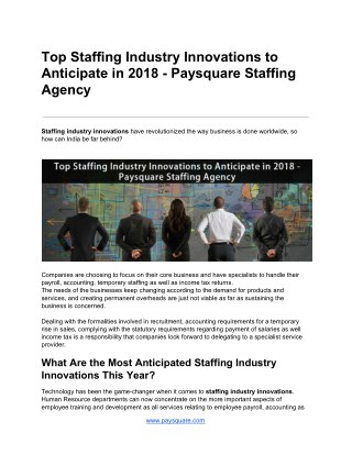 Top Staffing Industry Innovations to Anticipate in 2018 - Paysquare Staffing Agency