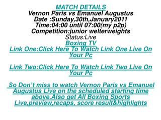 HD HBO BOXING TV:Vernon Paris vs Emanuel Augustus Free LIVE