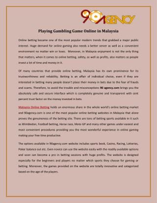 Playing Gambling Game Online in Malaysia