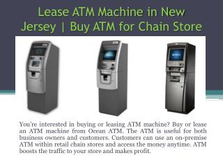 Lease ATM Machine in New Jersey | Buy ATM for Chain Store | Ocean ATM