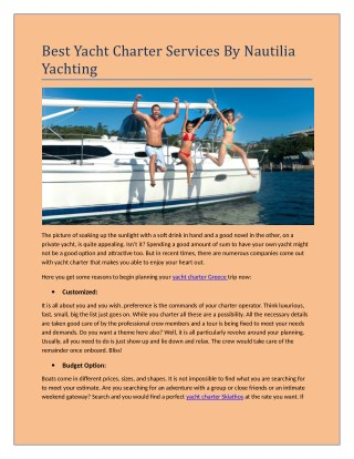 Best yacht charter services by Nautilia Yachting
