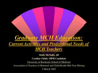 Graduate MCH Education: Current Activities and Professional Needs of MCH Teachers