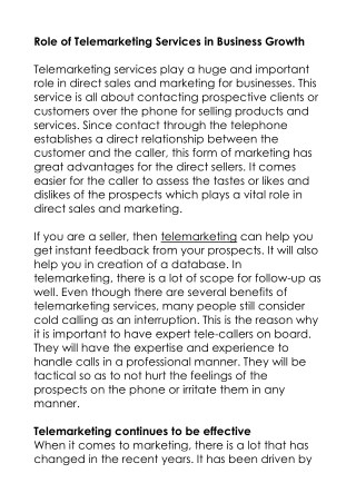 Role of Telemarketing Services in Business Growth