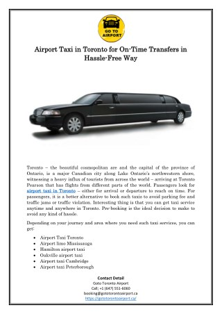 Airport Taxi in Toronto for On-Time Transfers in Hassle-Free Way
