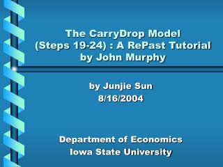 The CarryDrop Model  (Steps 19-24) : A RePast Tutorial by John Murphy