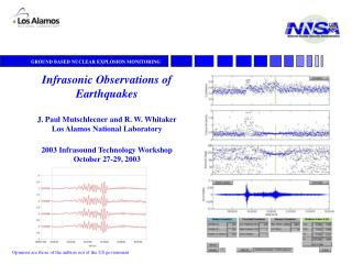 Infrasonic Observations of Earthquakes J. Paul Mutschlecner and R. W. Whitaker  Los Alamos National Laboratory 2003 Infr